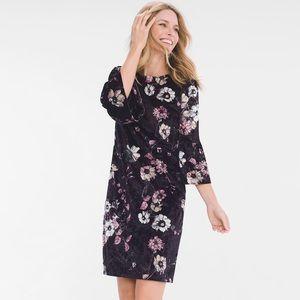 Chico's Velvet Floral Print Dress Bell Sleeve
